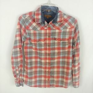 Jach's Girlfriend Bea plaid pearl snap shirt XS